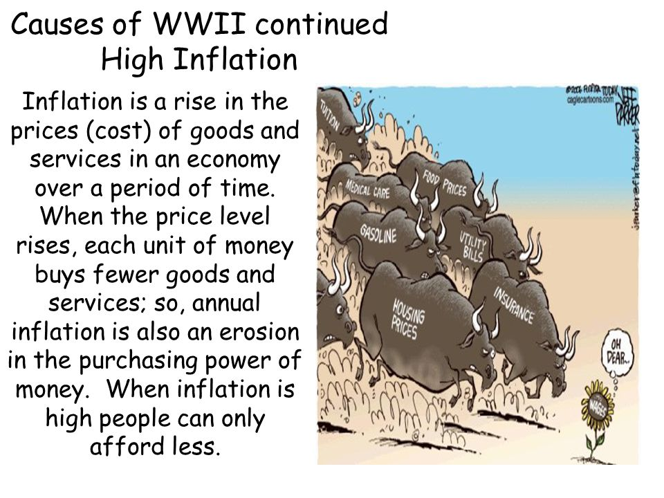 Causes of WWII continued High Inflation
