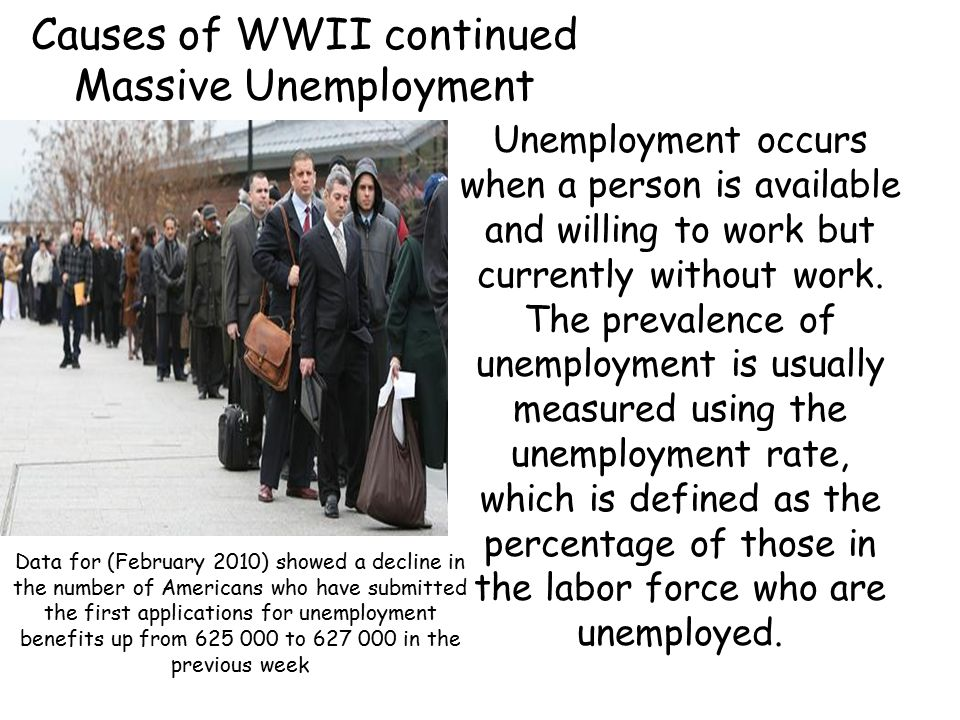 Causes of WWII continued Massive Unemployment