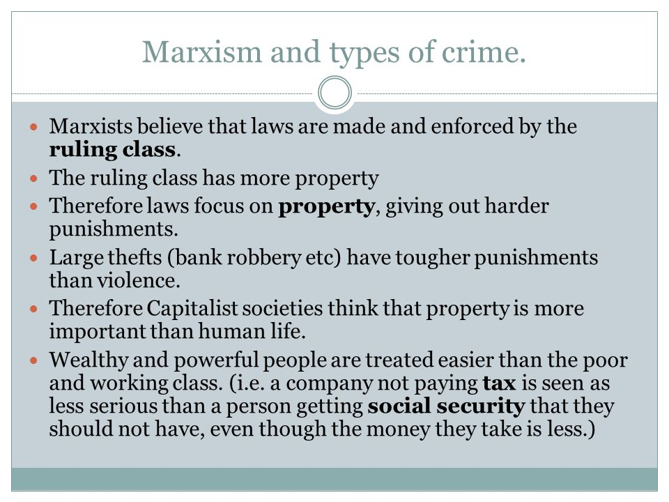 Marxism and types of crime.