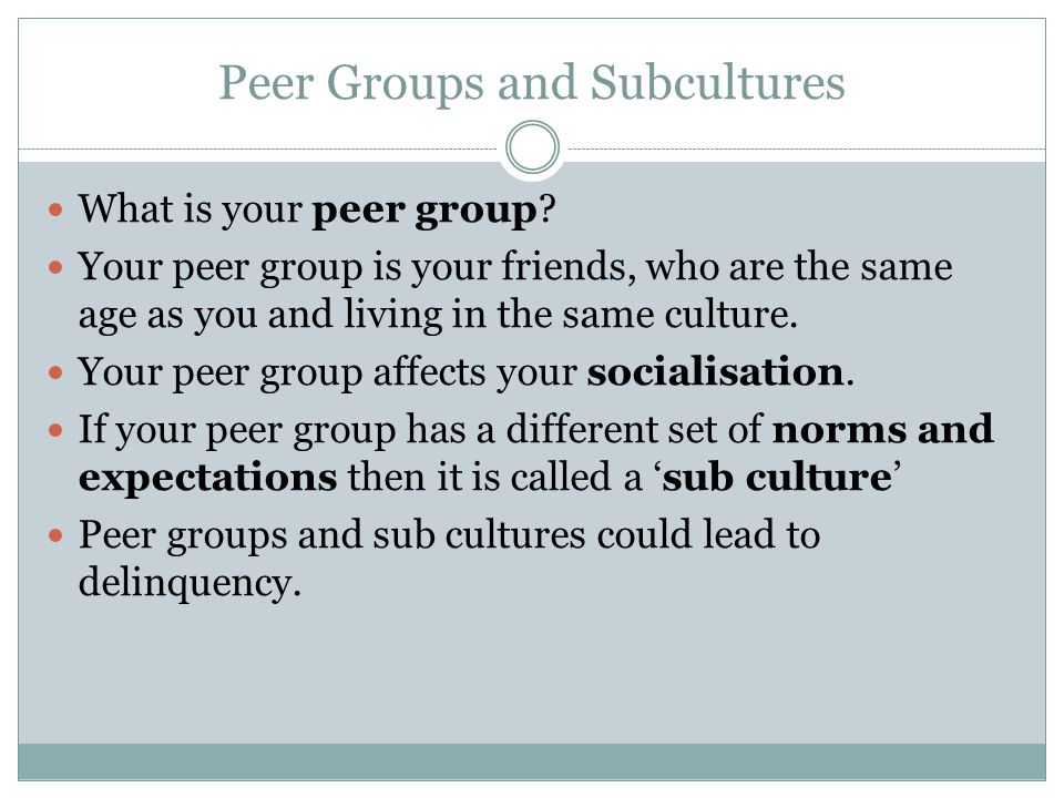 Peer Groups and Subcultures