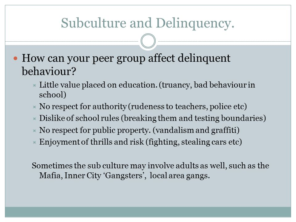 Subculture and Delinquency.