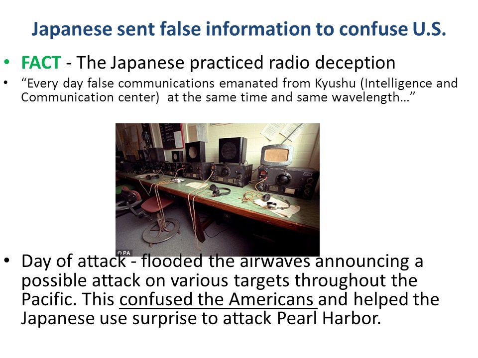 Japanese sent false information to confuse U.S.