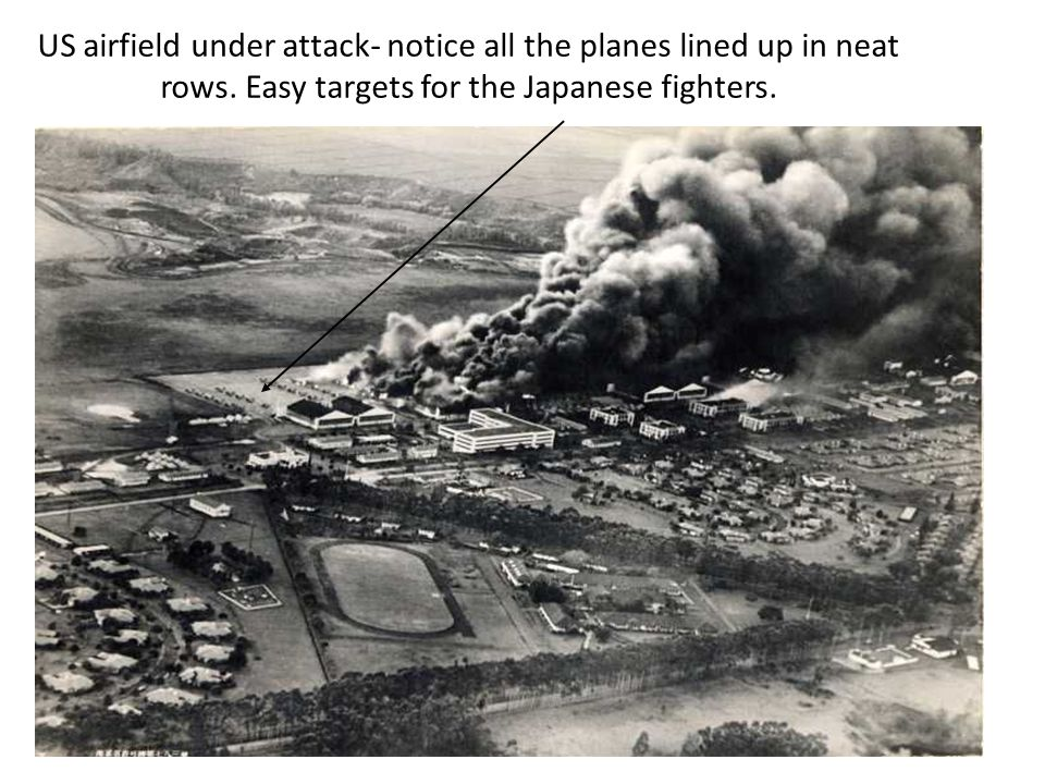 US airfield under attack- notice all the planes lined up in neat rows