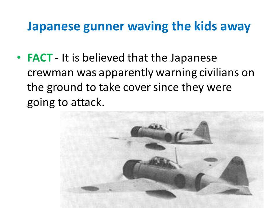 Japanese gunner waving the kids away