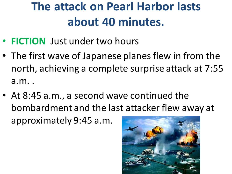 The attack on Pearl Harbor lasts about 40 minutes.