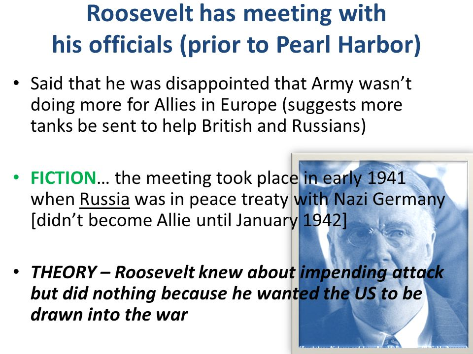 Roosevelt has meeting with his officials (prior to Pearl Harbor)