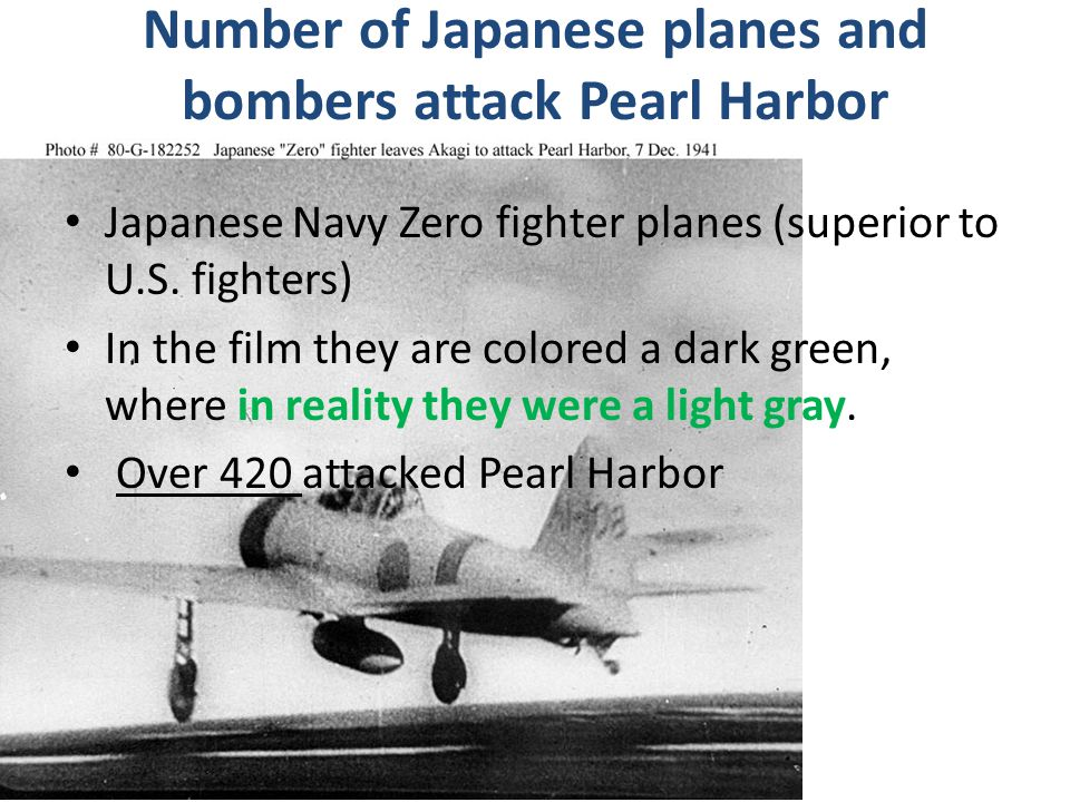 Number of Japanese planes and bombers attack Pearl Harbor