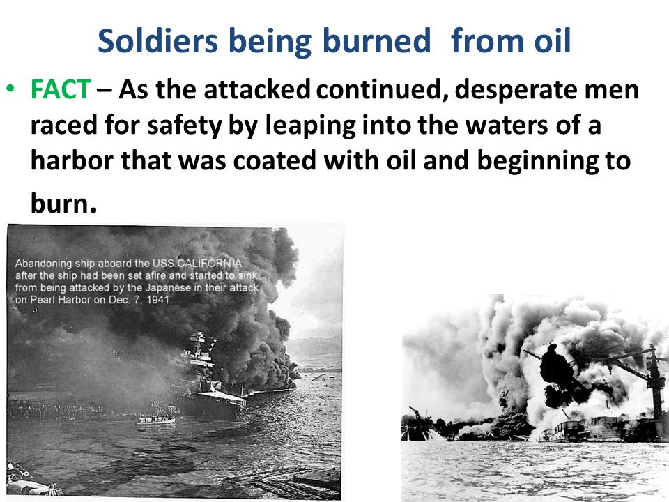 Soldiers being burned from oil