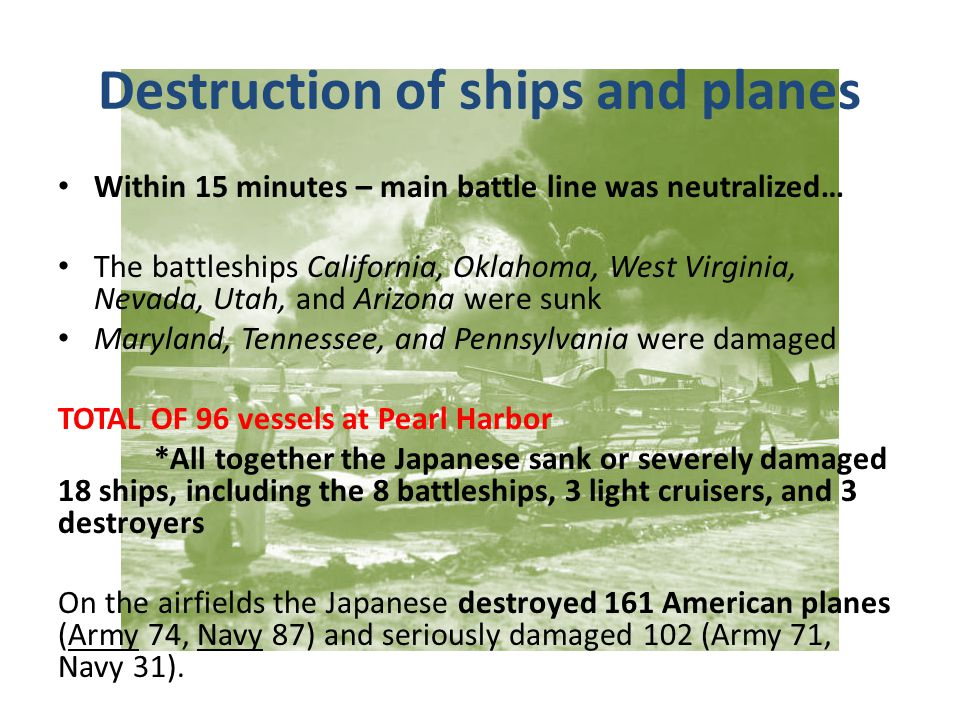 Destruction of ships and planes