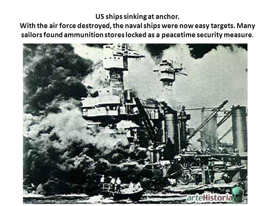 US ships sinking at anchor