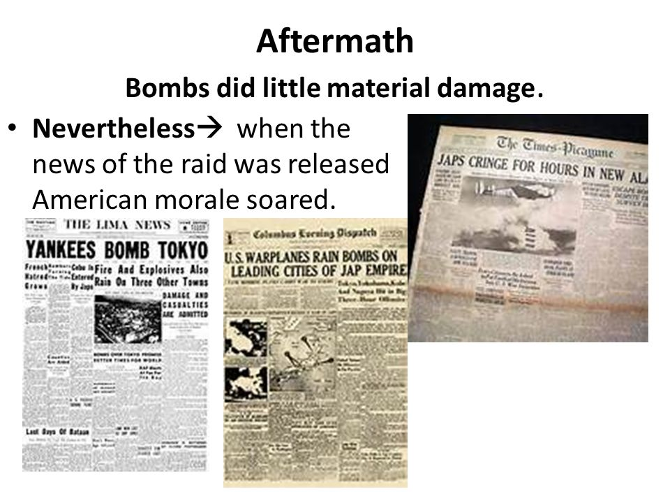 Aftermath Bombs did little material damage.