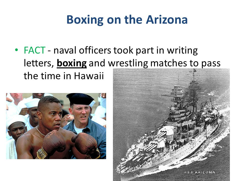 Boxing on the Arizona FACT - naval officers took part in writing letters, boxing and wrestling matches to pass the time in Hawaii.