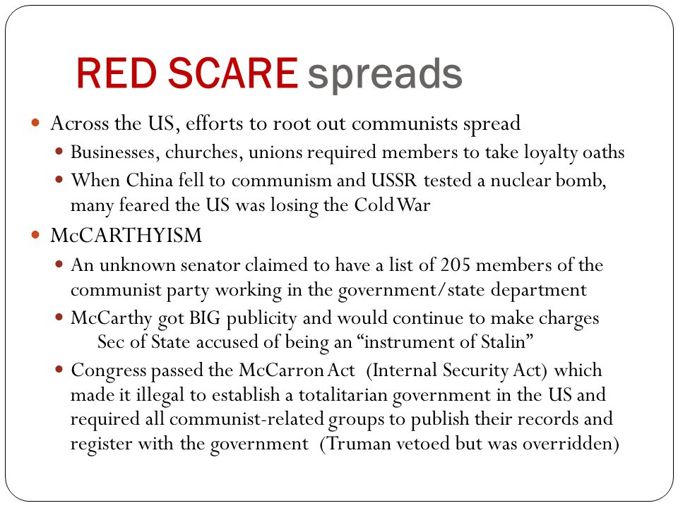RED SCARE spreads Across the US, efforts to root out communists spread