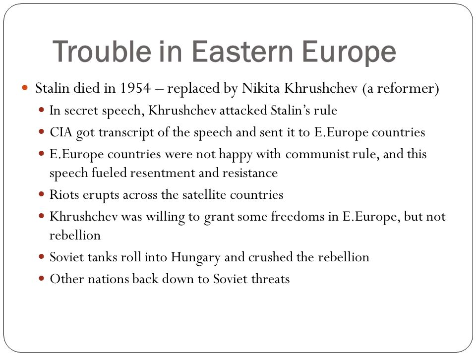 Trouble in Eastern Europe