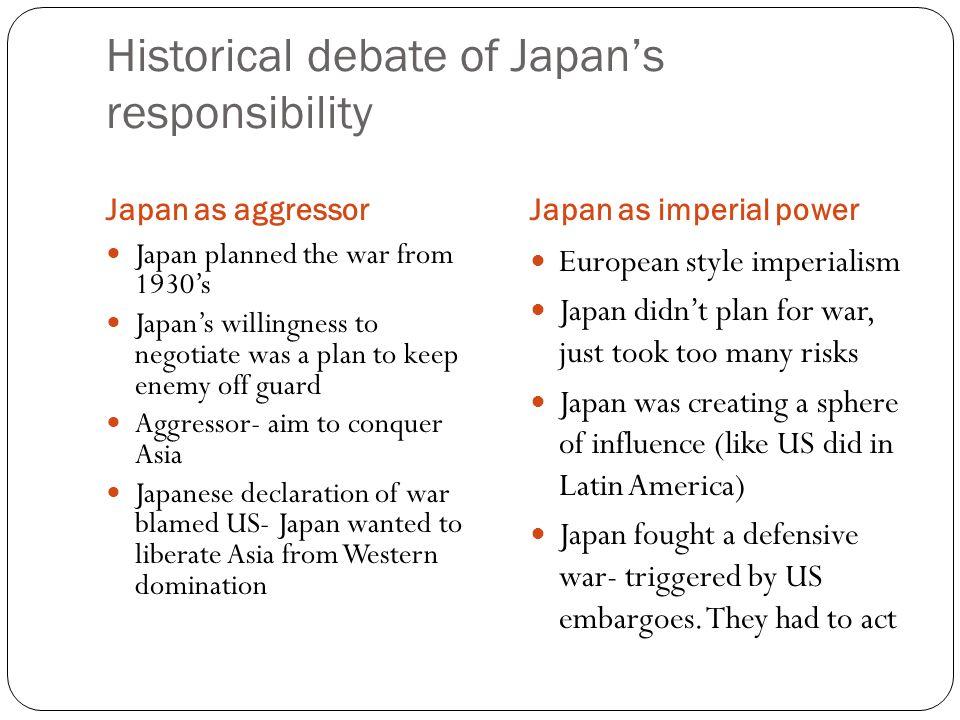 Historical debate of Japan's responsibility