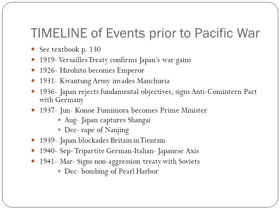 TIMELINE of Events prior to Pacific War