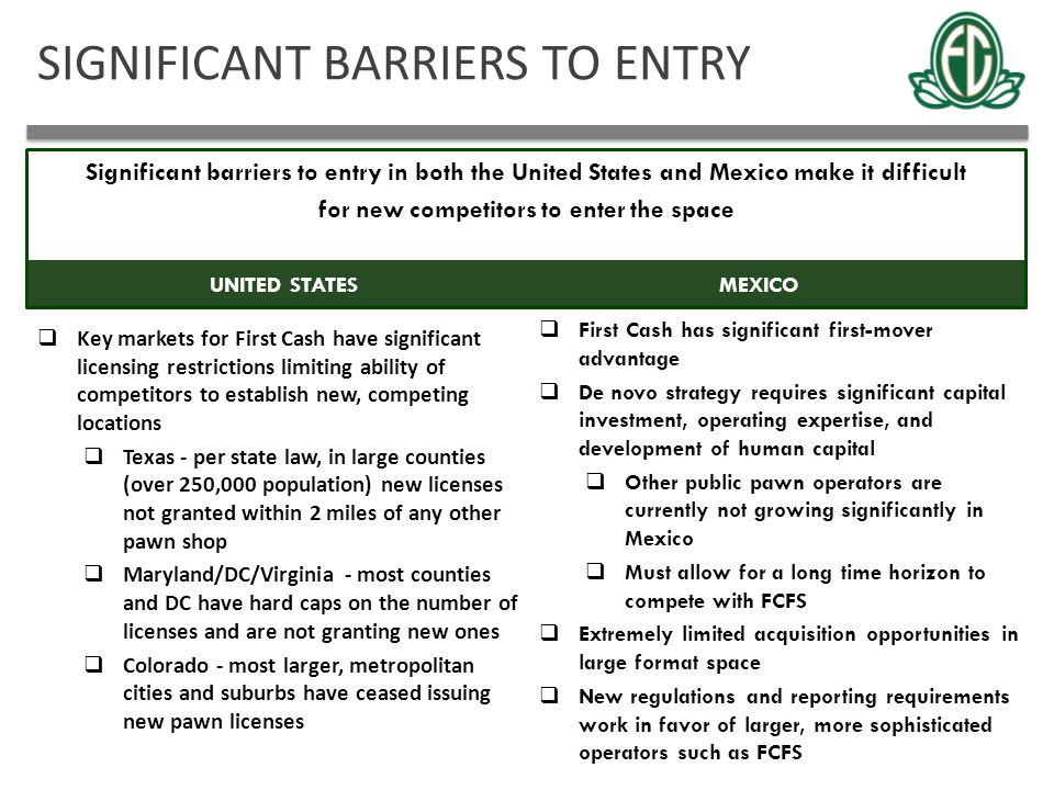SIGNIFICANT BARRIERS TO ENTRY