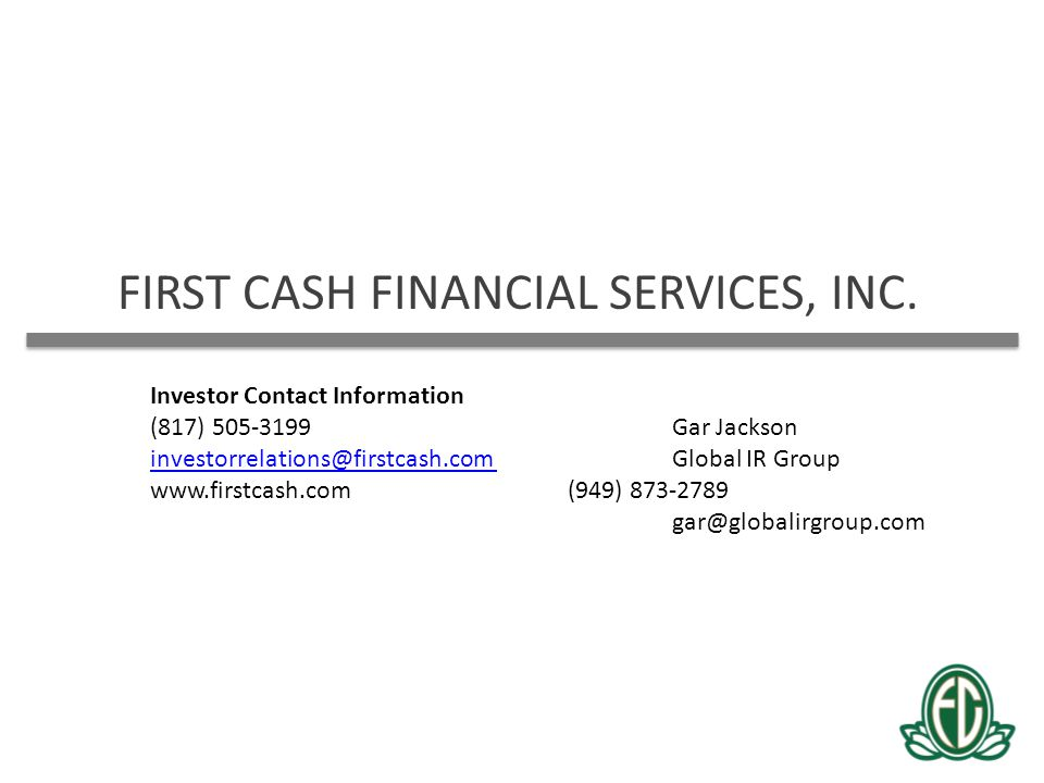 FIRST CASH FINANCIAL SERVICES, INC.