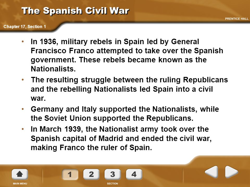 The Spanish Civil War Chapter 17, Section 1.