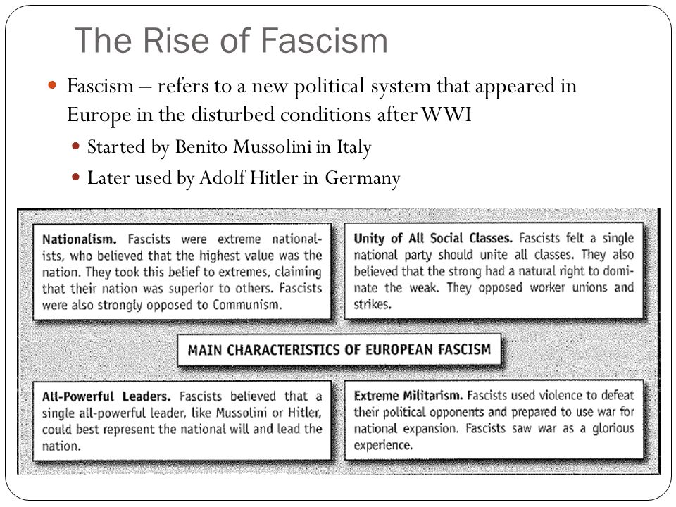 The Rise of Fascism Fascism – refers to a new political system that appeared in Europe in the disturbed conditions after WWI.