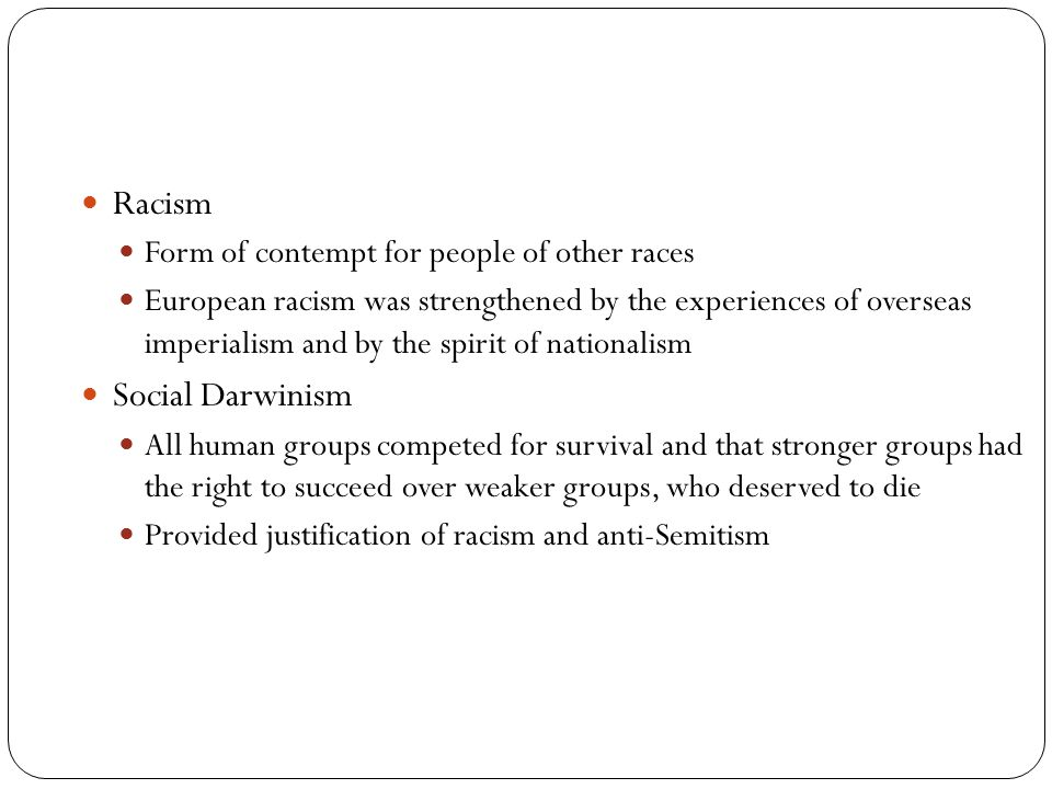 Racism Social Darwinism Form of contempt for people of other races