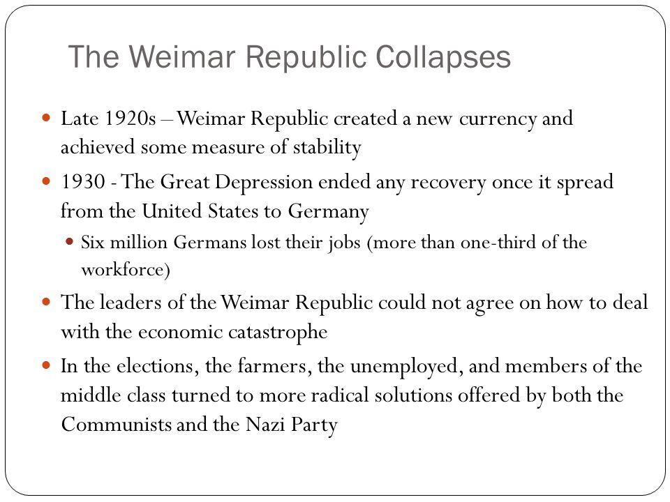 The Weimar Republic Collapses