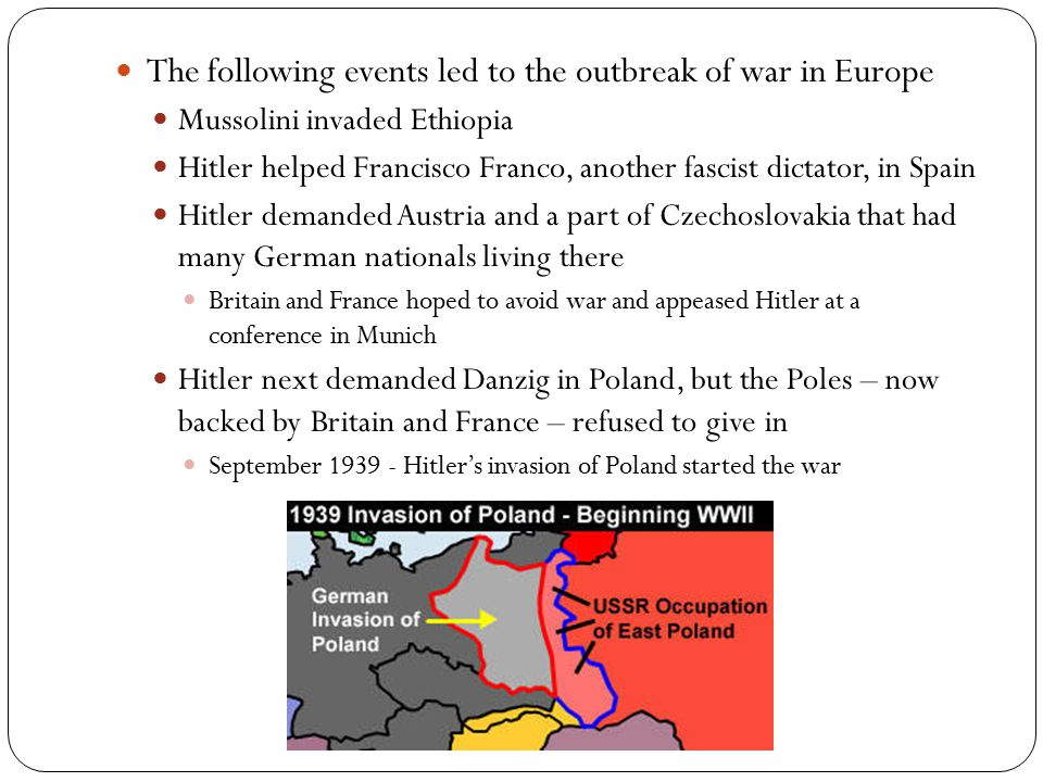 The following events led to the outbreak of war in Europe