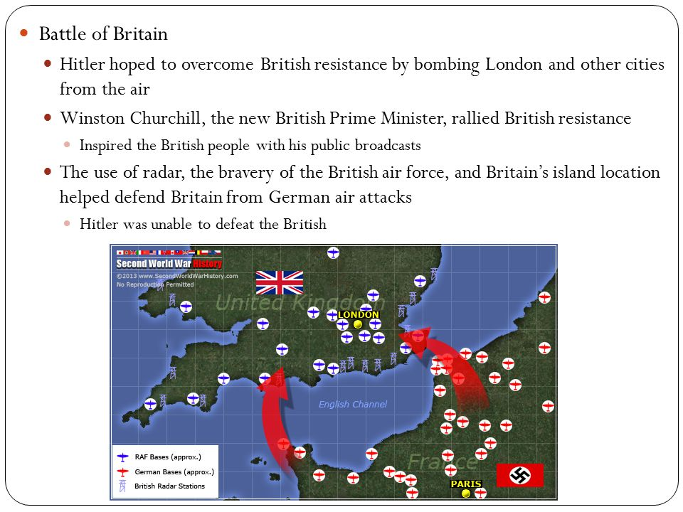 Battle of Britain Hitler hoped to overcome British resistance by bombing London and other cities from the air.