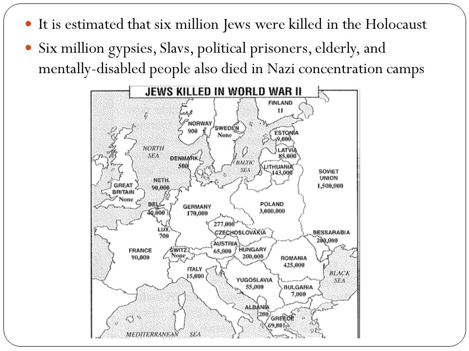 It is estimated that six million Jews were killed in the Holocaust