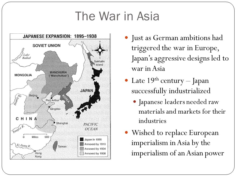 The War in Asia Just as German ambitions had triggered the war in Europe, Japan's aggressive designs led to war in Asia.