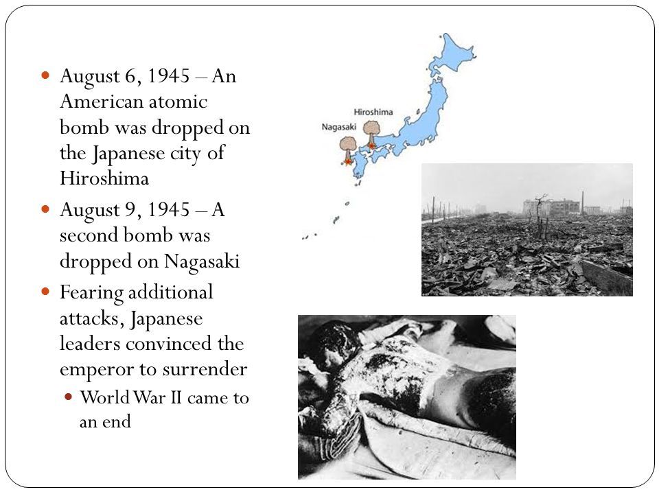 August 9, 1945 – A second bomb was dropped on Nagasaki