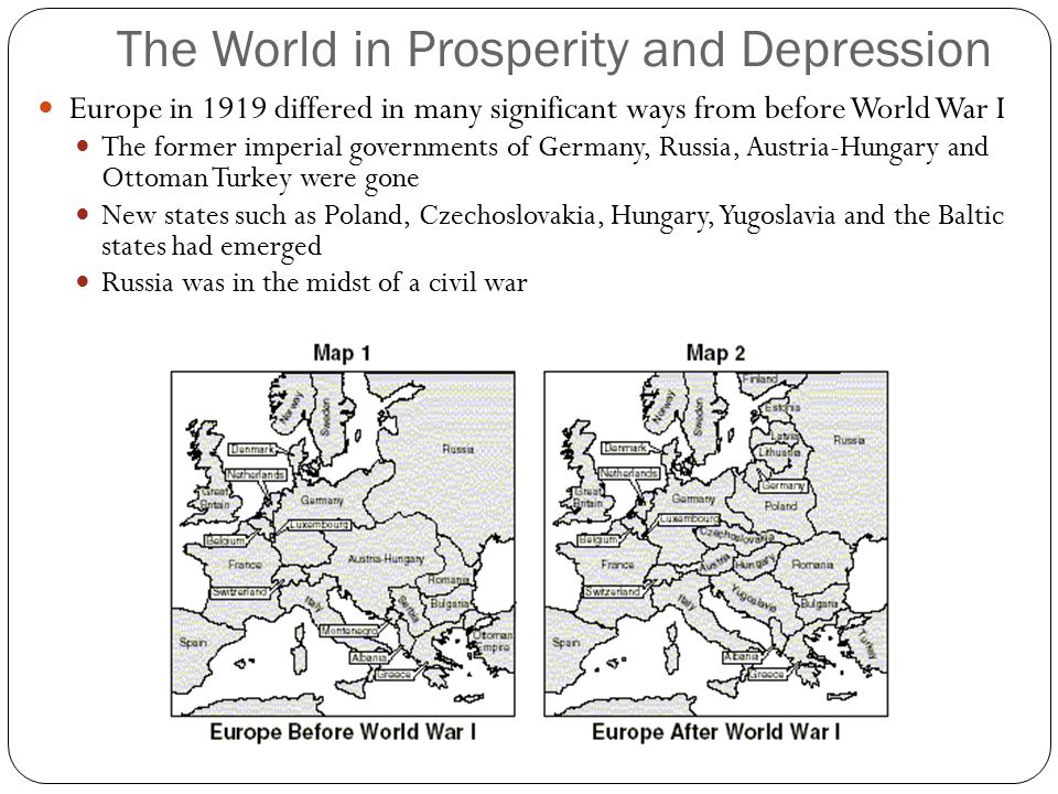 The World in Prosperity and Depression