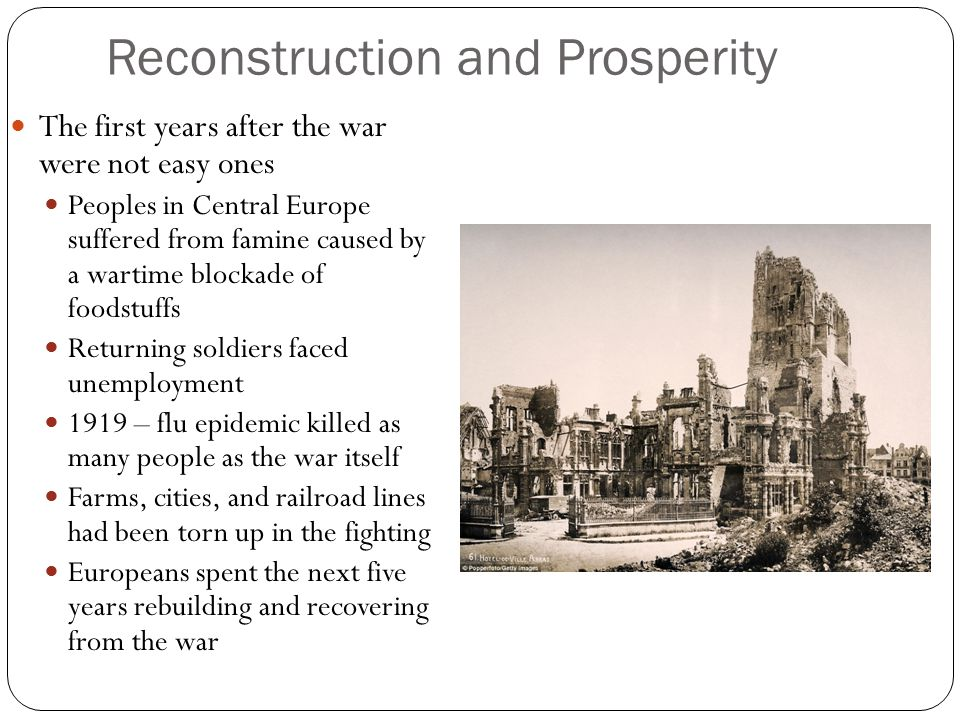 Reconstruction and Prosperity