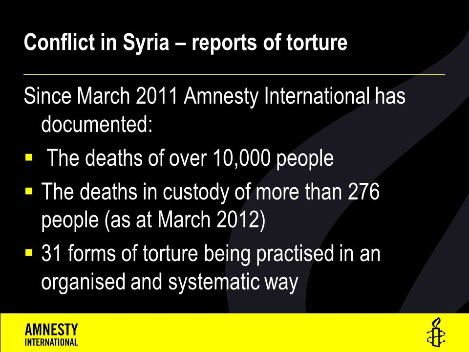 Conflict in Syria – reports of torture