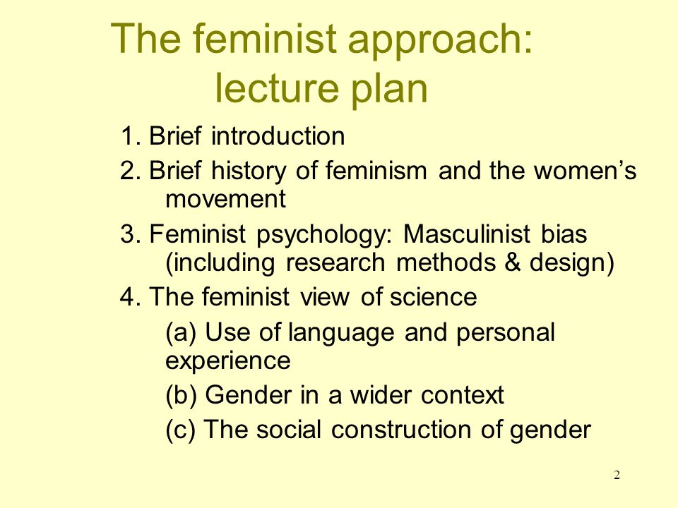The feminist approach: lecture plan