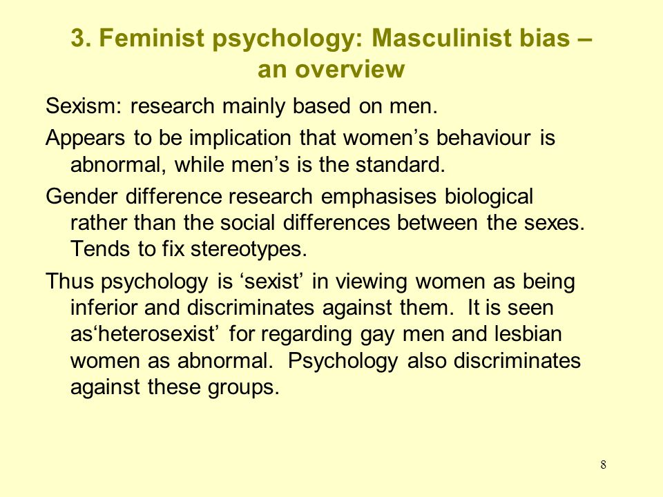 3. Feminist psychology: Masculinist bias – an overview