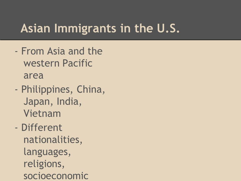 Asian Immigrants in the U.S.