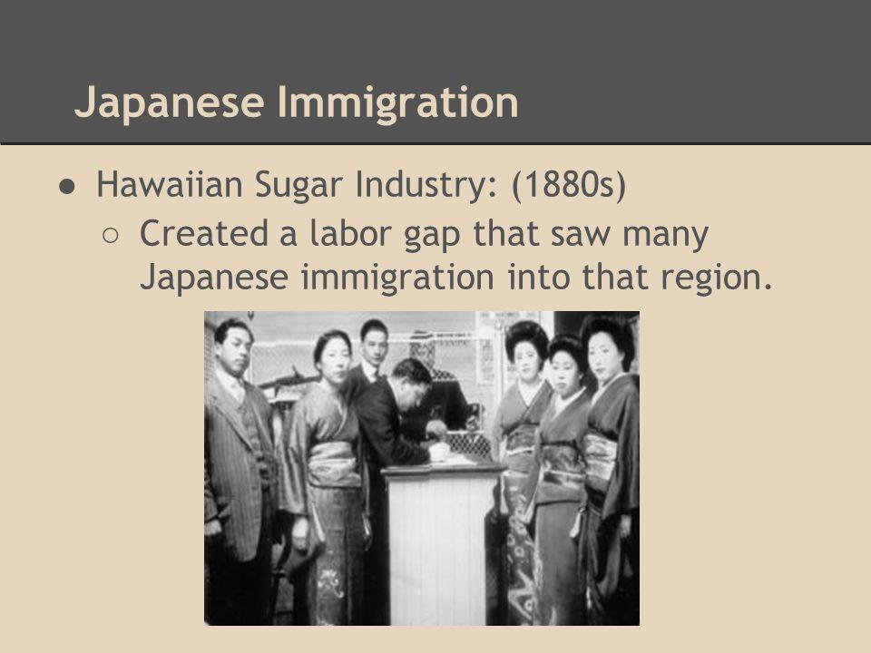 Japanese Immigration Hawaiian Sugar Industry: (1880s)