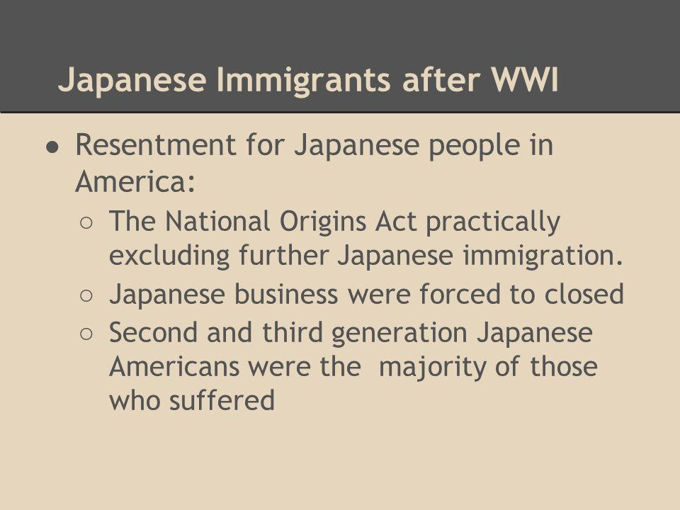 Japanese Immigrants after WWI