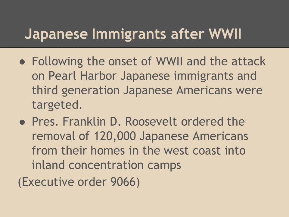 Japanese Immigrants after WWII