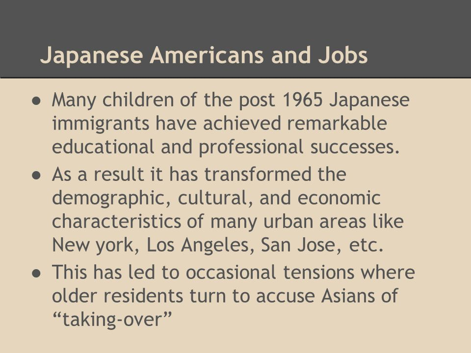 Japanese Americans and Jobs