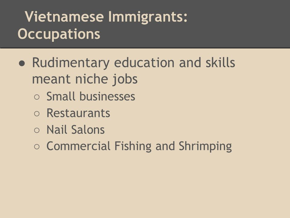 Vietnamese Immigrants: Occupations