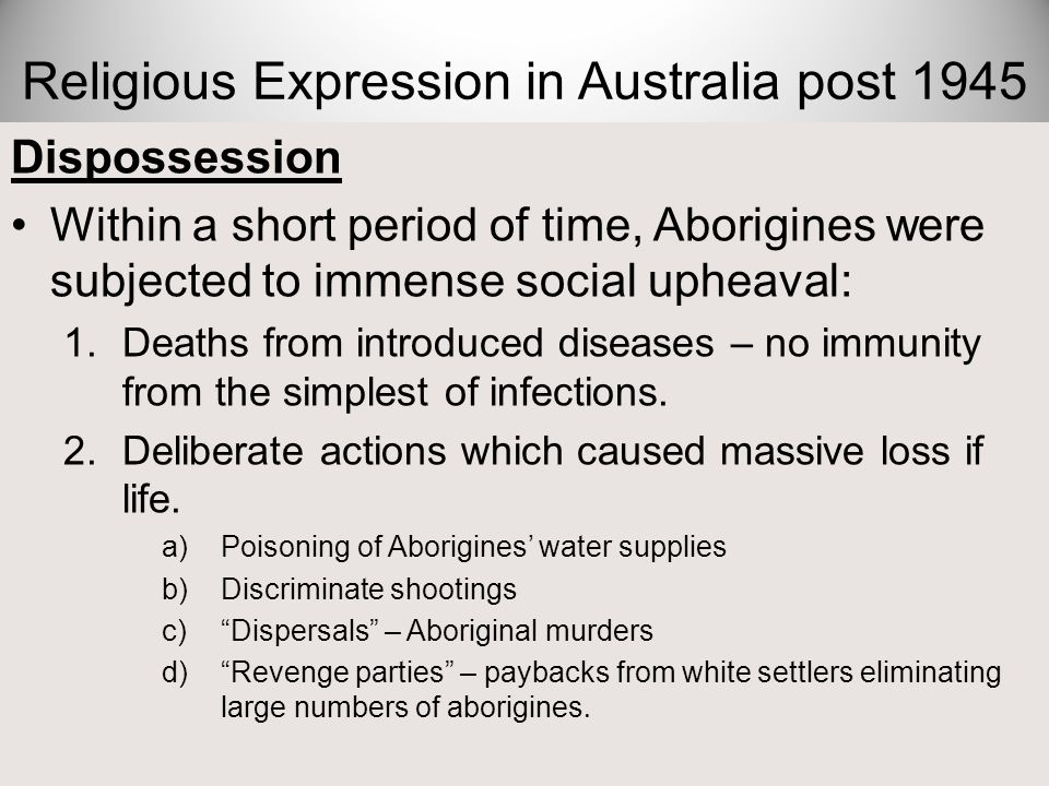 Religion-Effect of Dispossession on Aboriginals