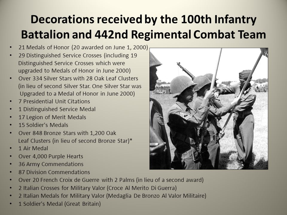 Decorations received by the 100th Infantry Battalion and 442nd Regimental Combat Team