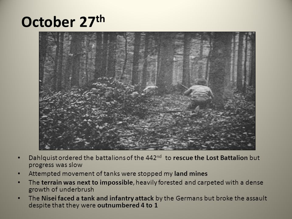 October 27th Dahlquist ordered the battalions of the 442nd to rescue the Lost Battalion but progress was slow.
