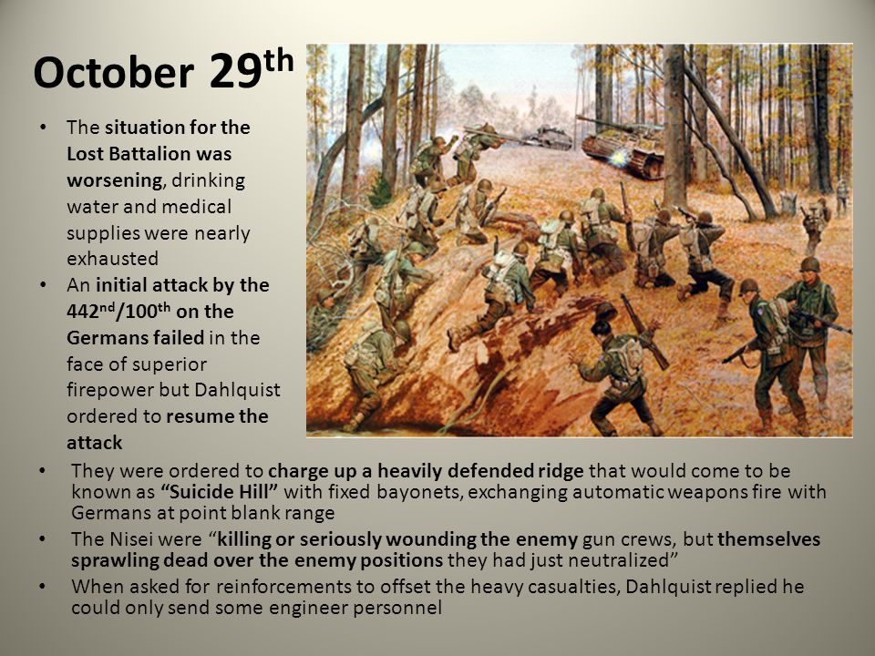 October 29th The situation for the Lost Battalion was worsening, drinking water and medical supplies were nearly exhausted.
