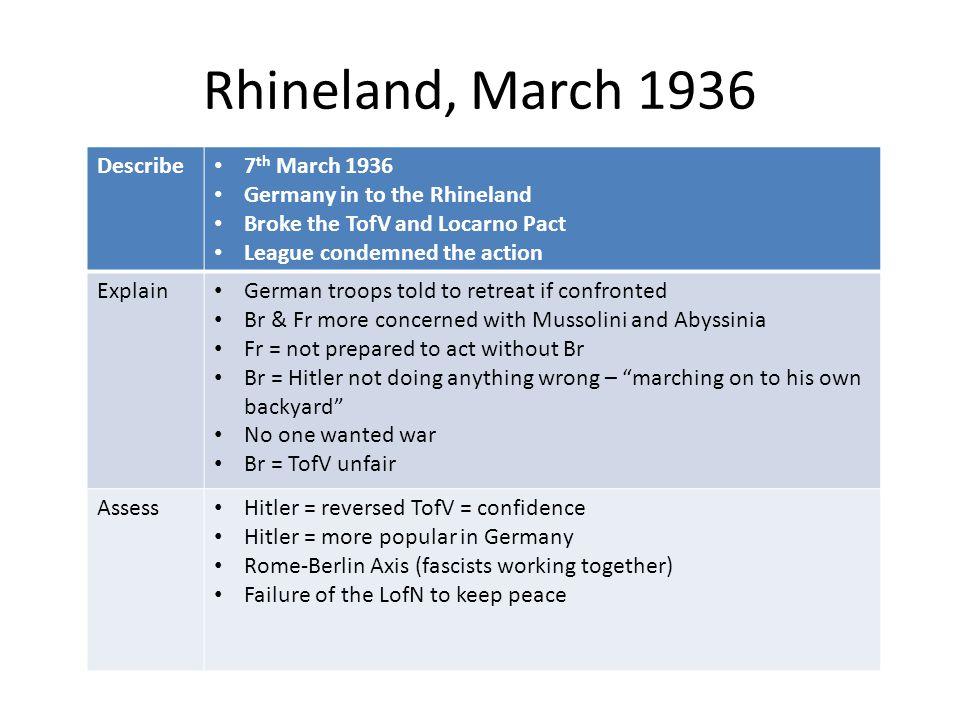 Rhineland, March 1936 Describe 7th March 1936