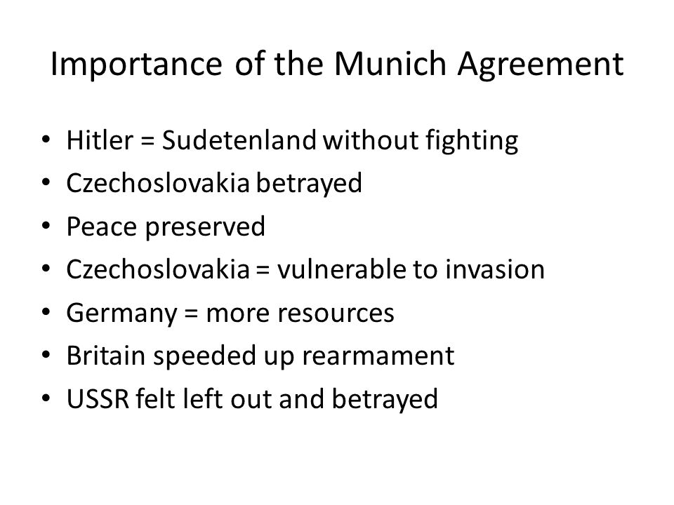 Importance of the Munich Agreement