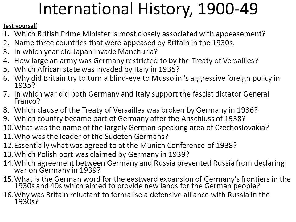International History, 1900-49