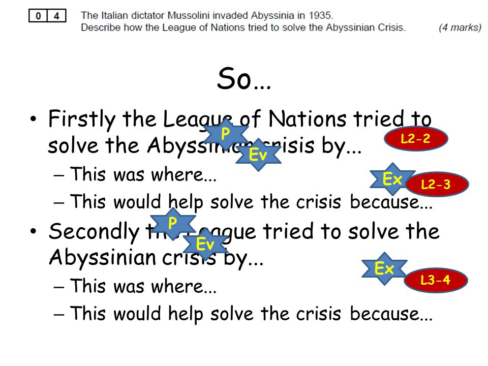 So… Firstly the League of Nations tried to solve the Abyssinian crisis by... This was where... This would help solve the crisis because...